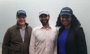 Rotman Commerce alumni Stephen Hudorvernik (BCom '95), Michael Mangat (BCom '05), and Tricia McKinnon (BCom '00, MBA '07) wearing their Rotman pride!
